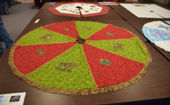 red and green Christmas tree skirt